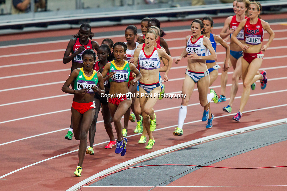 Tirunesh Dibaba (ETH) leads the pack in the Women's 5000m final at the Olympic Summer Games, London 2012