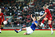 Liverpool women midfielder Melissa Lawley (11) shoots at goal during the FA Women's Super League match between Liverpool Women and Everton Women at Anfield, Liverpool, England on 17 November 2019.