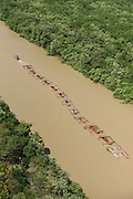 Log barge<br /> Canje River<br /> East GUYANA<br /> South America