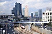 Israel, Tel Aviv The Ayalon Highway that runs through the metropolis