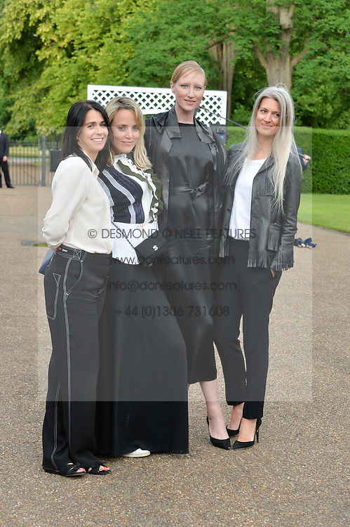Left to right, EMILY SHEFFIELD, BAY GARNETT, JADE PARFITT and SARAH HARRIS at The Ralph Lauren & Vogue Wimbledon Summer Cocktail Party at The Orangery, Kensington Palace, London on 22nd June 2015.  The event is to celebrate ten years of Ralph Lauren as official outfitter to the Championships, Wimbledon.