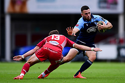 Guinness PRO14, Parc y Scarlets, Llanelli, UK 22/8/2020<br /> Scarlets v Cardiff Blues<br /> Aled Summerhill of Cardiff Blues is challenged by Steff Hughes of Scarlets<br /> Mandatory Credit ©INPHO/Ryan Hiscott