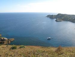 Looking from Burgess Island, Mokohinau Islands. University of Akl reserach vessel Hawere.