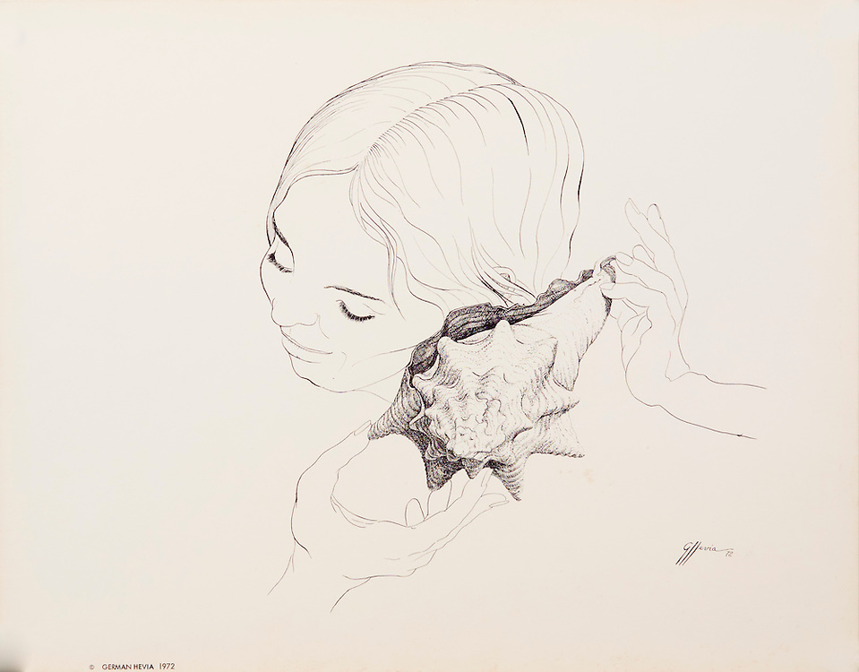 """Cat. #10 - Lithographic print of Pen and Ink drawing of a young woman with sea shell held to her ear. This print is printed on smooth, heavy weight stock.<br /> Paper size is 13 x 10 1/4"""". Image size is approximately 8 x 8 1/2"""" <br /> Cat. #10 - Impresión litográfica de un dibujo a plumilla de una muchacha con un caracol en su oido. Impresa en papel grueso y liso.<br /> Tamaño del papel es13 x 10 1/4"""". Tamaño de la imagen es aproximadamente 8 x 8 1/2"""""""