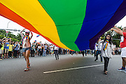 "The rainbow banner leads out the start of the LGBT Pride Parade. Two different groups headed out, one moving north, the other south, before looping around and bringing tens of thousands together. The annual march through Taipei's city streets is the largest in Asia, with well over 50 000 people taking part. The 2014 event had the theme ""Walk in Queer's Shoes"", to encourage the wider community to lend their support for equal marriage rights."