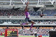 Marquis Dendy of USA in the long jump during the Sainsbury's Anniversary Games at the Queen Elizabeth II Olympic Park, London, United Kingdom on 25th July 2015. Photo by Ellie Hoad.