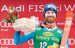 04.03.2017, Podkoren, Kranjska Gora, SLO, FIS Weltcup Ski Alpin, Kranjska Gora, Riesenslalom, Herren, Flower Zeremonie, im Bild Leif Kristian Haugen (NOR, 2. Platz) // second placed Leif Kristian Haugen of Norway during the Flowers ceremony for the men's Giant Slalom of FIS Ski Alpine World Cup at the Podkoren in Kranjska Gora, Slovenia on 2017/03/04. EXPA Pictures © 2017, PhotoCredit: EXPA/ Johann Groder