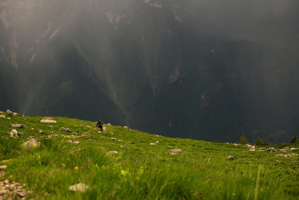 Jez Wilson, storm chaser, Chamonix, France.