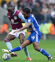 Birmingham City's Jacques Maghoma tackles Aston Villa's Albert Adomah<br /> <br /> Photographer James Williamson/CameraSport<br /> <br /> The EFL Sky Bet Championship - Birmingham City v Aston Villa - Sunday October 30th 2016 - St Andrews - Birmingham<br /> <br /> World Copyright © 2016 CameraSport. All rights reserved. 43 Linden Ave. Countesthorpe. Leicester. England. LE8 5PG - Tel: +44 (0) 116 277 4147 - admin@camerasport.com - www.camerasport.com