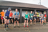 High Point, New Jersey - Runners gather  before the start of the Shawangunk Ridge Trail Run/Hike 70-mile race at High Point State Park on Sept. 15, 2017.