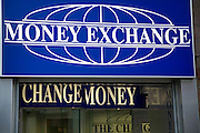 Money Exchange change money signs, London, England