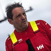 Leg 02, Lisbon to Cape Town, day 04, on board MAPFRE. Juan Vila tomando decisiones bajo un pequeño chubasco. Photo by Ugo Fonolla/Volvo Ocean Race. 08 November, 2017