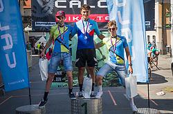 From left side: 2nd. Lozar Matjaz (MBK Crni vrh), 1st. Stajnar Mihael (Meblojogi Pro Concrete), 3rd. Klemencic Jakob (MKB Crni vrh) ,during the race of XCO National Championship of Slovenia 2021 on 27.06.2021 in Kamnik, Slovenia. Photo by Urban Meglič / Sportida