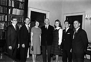 12/11/1964<br /> 11/12/1964<br /> 12 November 1964<br /> <br /> Éamon de Valera in the centre with (L-R) David Bills from Indiania U.S.A, Al Roybal from New Mexico U.S.A(who spent the last five months on the farms of Mr&Mrs. John Ahern in Rathpacken county Cork and Mr& Mrs. J Keating of Kildorrery Country Cork; Miss Madge O'Brien Dungarvan Co. Waterford; Miss Jean Thomas from Virgina U.S.A; Bill Shortall of Co. Tipperary and Maurice Kennedy the Director of Education