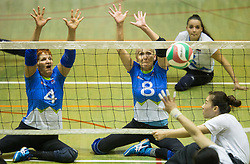 Mira Jakin of Slovenia and Danica Gosnak of Slovenia  during friendly Sitting Volleyball match between National teams of Slovenia and China, on October 22, 2017 in Sempeter pri Zalcu, Slovenia. (Photo by Vid Ponikvar / Sportida)