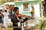 A mariachi fiddler plays at a gravesite at the San Miguel cemetery during the Day of the Dead Festival known in Spanish as Día de Muertos in Oaxaca, Mexico.