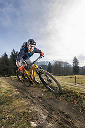Mountain biker riding down hill on single track, Bavaria, Germany