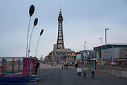 The famous tourist attraction Blackpool Tower on the Promenade at dusk in Blackpool, Lancashire, England. It was inspired by the Eiffel Tower in Paris and opened in 1894. It is 518 feet tall.  (photo by Andrew Aitchison / In pictures via Getty Images)