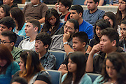 Students listen as Sonia Nazario comments during a presentation at Chavez High School, September 26, 2014.