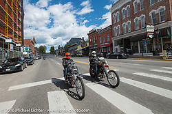 Bill Buckingham (L) riding his 1936 Harley-Davidson Knucklehead custom chopper (that won top honors at Born Free 6) with his good friend Sean Duggan on his 1936 Harley-Davidson Knucklehead chopper as they come into Leadville, Colorado during Stage 10 (278 miles) of the Motorcycle Cannonball Cross-Country Endurance Run, which on this day ran from Golden to Grand Junction, CO., USA. Monday, September 15, 2014.  Photography ©2014 Michael Lichter.