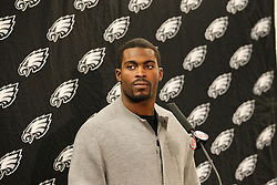 Philadelphia Eagles quarterback Michael Vick #7 speaks to the media after the NFL Game between the Philadelphia Eagles and the Chicago Bears. The Bears won 31-26 at Soldier Field on Sunday November 28th 2010. (Photo By Brian Garfinkel)