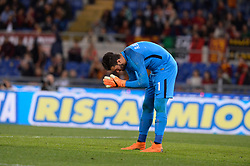 April 18, 2018 - Rome, Italy - Alisson Becker during the Italian Serie A football match between A.S. Roma and AC Genoa at the Olympic Stadium in Rome, on april 18, 2018. (Credit Image: © Silvia Lore/NurPhoto via ZUMA Press)