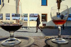 October 10, 2018 - Uzhhorod, Ukraine - A woman walks on the cobblestones during the Zakarpattia: Business at Heart of Europe Investment Forum in Uzhhorod, western Ukraine, October 10, 2018. Ukrinform. (Credit Image: © Serhiy Hudak/Ukrinform via ZUMA Wire)