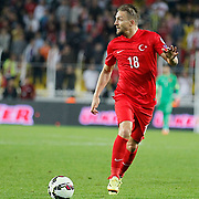 Turkey's Caner Erkin during their UEFA Euro 2016 qualification Group A soccer match Turkey betwen Czech Republic at Sukru Saracoglu stadium in Istanbul October 10, 2014. Photo by Aykut AKICI/TURKPIX