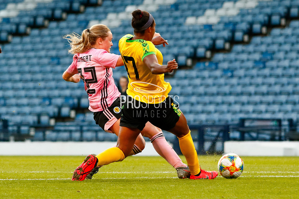 Scotlands Erin CUTHBERT (Chelsea FCW (ENG)) challenges Allyson SWABY (AS Roma (ITA)) during the International Friendly match between Scotland Women and Jamaica Women at Hampden Park, Glasgow, United Kingdom on 28 May 2019.