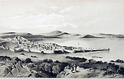 Historic illustration of Tiberias and the Sea of Galilee