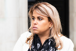 Nadia Essex leaves her employment tribunal in London where she is suing  former Celebs Go Dating co-host Eden Blackman for unfair dismissal. London, April 24 2019.