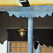 Classic New Mexico architecture and colors in historic and charming Santa Fe, NM.