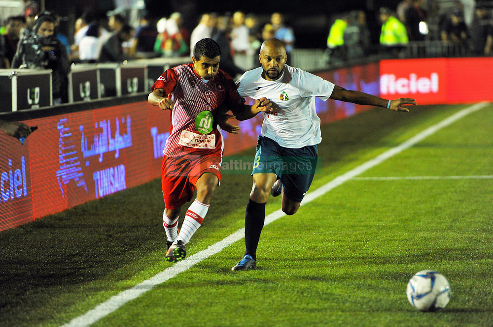 October 6, 2017 - Nabeul, Tunisia - Mohamed Aly(4)of Tunisia and NelsonParva(3) of Portugal during the opening match of the World Cup mini-footbal....Ceremonie the kickoff of the World Cup mini-football, held from 6 to 15 October in Nabeul (60 km south of Tunis) Tunisia this Friday, October 6, 2017 with the participation of 24 teams from different countries world. (Credit Image: © Chokri Mahjoub via ZUMA Wire)