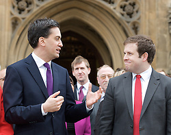 (L to R) Ed Miliband MP, Leader of the Labour party and Stephen Doughty MP, outside St Stephen's Gate, November 19, 2012. Westminster, London, Great Britain. Photo by Elliott Franks / i-Images.