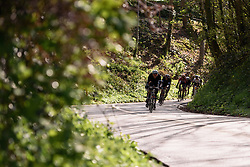 Through the tree-lined descent at Dwars door de Westhoek 2016. A 127km road race starting and finishing in Boezinge, Belgium on 24th April 2016.