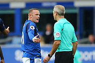 Wayne Rooney of Everton in discussion with Referee Martin Atkinson. Premier league match, Everton vs Bournemouth at Goodison Park in Liverpool, Merseyside on Saturday 23rd September 2017.<br /> pic by Chris Stading, Andrew Orchard sports photography.