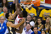 Golden State Warriors guard Shaun Livingston (34) dunks on Houston Rockets center Clint Capela (15) during Game 4 of the Western Conference Finals at Oracle Arena in Oakland, Calif., on May 22, 2018. (Stan Olszewski/Special to S.F. Examiner)
