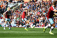 Matthew Taylor of Burnley takes a free kick and scores his teams 2nd goal. Skybet football league championship match, Burnley  v Birmingham City at Turf Moor in Burnley, Lancs on Saturday 15th August 2015.<br /> pic by Chris Stading, Andrew Orchard sports photography.