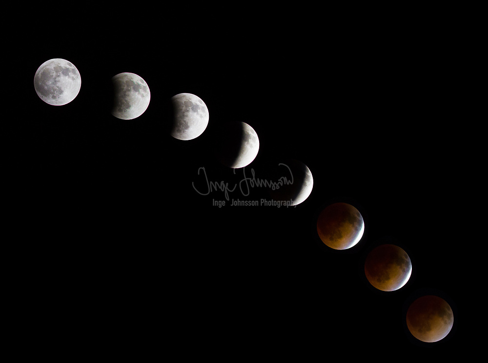 """Lunar eclipse April 15, 2014.<br /> <br /> A lunar eclipse occurs when the Moon passes directly behind the Earth into its umbra (shadow). This can occur only when the Sun, Earth, and Moon are aligned (in """"syzygy"""") exactly, or very closely so, with the Earth in the middle. Hence, a lunar eclipse can only occur the night of a full moon. The type and length of an eclipse depend upon the Moon's location relative to its orbital nodes.<br /> <br /> Unlike a solar eclipse, which can only be viewed from a certain relatively small area of the world, a lunar eclipse may be viewed from anywhere on the night side of the Earth. A lunar eclipse lasts for a few hours, whereas a total solar eclipse lasts for only a few minutes at any given place, due to the smaller size of the moon's shadow. Also unlike solar eclipses, lunar eclipses are safe to view without any eye protection or special precautions, as they are dimmer than the full moon.<br /> <br /> The Moon does not completely disappear as it passes through the umbra because of the refraction of sunlight by the Earth's atmosphere into the shadow cone; if the Earth had no atmosphere, the Moon would be completely dark during an eclipse. The red coloring arises because sunlight reaching the Moon must pass through a long and dense layer of the Earth's atmosphere, where it is scattered. Shorter wavelengths are more likely to be scattered by the air molecules and the small particles, and so by the time the light has passed through the atmosphere, the longer wavelengths dominate. This resulting light we perceive as red. This is the same effect that causes sunsets and sunrises to turn the sky a reddish color; an alternative way of considering the problem is to realize that, as viewed from the Moon, the Sun would appear to be setting (or rising) behind the Earth. Such a total eclipse of the moon is sometimes referred to as a blood moon."""