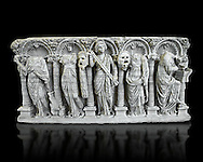 Roman relief sculpture on a sarcophagus side depiction the Muses, circa 280 - 290 AD from the Villa Celimontana. National Roman Musuem, Rome. .<br /> <br /> If you prefer to buy from our ALAMY PHOTO LIBRARY  Collection visit : https://www.alamy.com/portfolio/paul-williams-funkystock/roman-museum-rome-sculpture.html<br /> <br /> Visit our ROMAN ART & HISTORIC SITES PHOTO COLLECTIONS for more photos to download or buy as wall art prints https://funkystock.photoshelter.com/gallery-collection/The-Romans-Art-Artefacts-Antiquities-Historic-Sites-Pictures-Images/C0000r2uLJJo9_s0