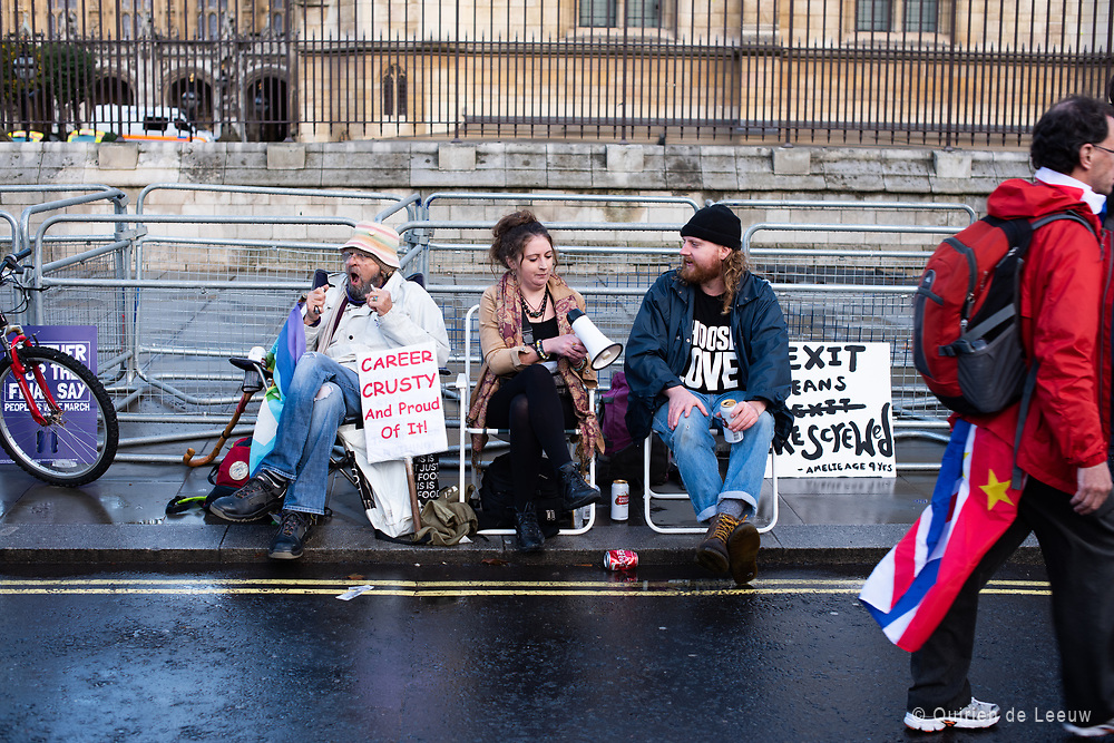 Anti-Brexit protesters demonstrate in front of the British parliament at Parliament Square during the People's Vote March 19th october.