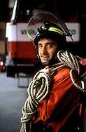 Roma. Caserma dei Vigili del Fuoco Tuscolano II  .Un Vigile del fuoco.Rome. Barracks Fire Tuscolano II.A Firemen
