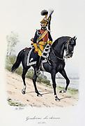 Mounted Military Gendarme, 1815-1830.  From 'Histoire de la maison militaire du Roi de 1814 a 1830' by Eugene Titeux, Paris, 1890.
