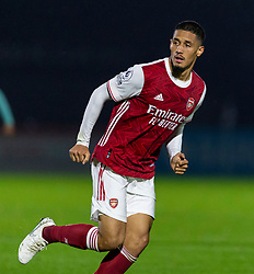 LONDON, ENGLAND - Friday, October 30, 2020: Arsenal's William Saliba during the Premier League 2 Division 1 match between Arsenal FC Under-23's and Liverpool FC Under-23's at Meadow Park. Liverpool won 1-0. (Pic by David Rawcliffe/Propaganda)