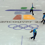 Winter Olympics, Vancouver, 2010.Volunteers in the Pacific Coliseum, the venue for the Figure Skating and the short track speed skating, enjoy practice time of their own after no athletes turned up for a scheduled training session 7th February 2010. Photo Tim Clayton
