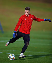 CARDIFF, WALES - Wednesday, November 14, 2018: Wales' goalkeeper Wayne Hennessey during a training session at the Vale Resort ahead of the UEFA Nations League Group Stage League B Group 4 match between Wales and Denmark. (Pic by David Rawcliffe/Propaganda)
