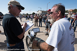 Bill Page of Kansas rides over the finish line in Dodge City, KS on his single-cylinder 1915 Harley-Davidson class-2 motorcyle during the Motorcycle Cannonball Race of the Century. Stage-8 from Wichita, KS to Dodge City, KS. USA. Saturday September 17, 2016. Photography ©2016 Michael Lichter.