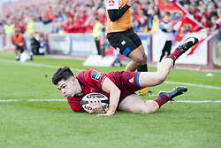 September 9, 2017 - Limerick, Ireland - Alex Wootton of Munster scores a try during the Guinness PRO14 rugby match between Munster Rugby and Cheetahs Rugby at Thomond Park in Limerick, Ireland on September 9, 2017  (Credit Image: © Andrew Surma/NurPhoto via ZUMA Press)