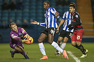 Alex Smithies (QPR) gets to the ball ahead of Lucas Joao (Sheffield Wednesday) during the Sky Bet Championship match between Sheffield Wednesday and Queens Park Rangers at Hillsborough, Sheffield, England on 23 February 2016. Photo by Mark P Doherty.