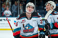 KELOWNA, BC - DECEMBER 30:  Liam Kindree #26 of the Kelowna Rockets is all smiles after scoring the overtime winning goal against the Prince George Cougars at Prospera Place on December 30, 2019 in Kelowna, Canada. (Photo by Marissa Baecker/Shoot the Breeze)